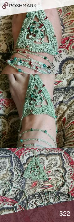Beaded Boho Barefoot Sandals Handmade by me (Nicole ). Crocheted with 100% cotton and glass beads. Shown inwavy triangle design in sage. Tie around ankle,up leg,or wear on hand as a slave bracelet. Unique, versatile, on trend. Comment color choice for new listing. Tagging Free People for exposure. Free People Accessories