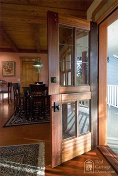 Beautiful Dutch doors with panes. -The house I grew up in had a Dutch door front door. It opened into a entry hall that had a screen door. You could open the dutch door with no fear of flies. Style At Home, Carriage Doors, Barn Doors, Entry Doors, Entrance, Sliding Doors, Patio Doors, Front Entry, Home Fashion