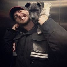 Tom Hardy and his pit bull Zora.