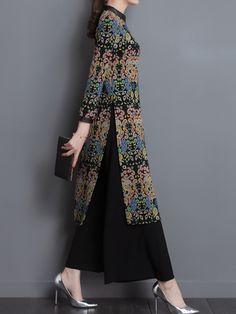 Women Printed Long Sleeve Split Dresses Wide Leg Pants Suits is fashion, see more co ord outfits and short suits women online. Co Ords Outfits, Suits For Women, Clothes For Women, Blouse Online, Long Tops, Elegant Woman, Wide Leg Pants, Plus Size Fashion, Kimono Top