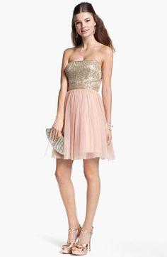 Aidan Mattox Embellished Bodice Mesh Dress