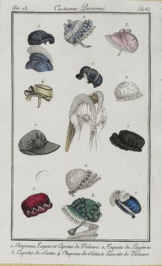 Bonnets an 13 costume parisien. Per Rijksmuseum: Journal des Dames et des Modes, Costume Parisien, 1805, An 13 (616) Chapeaux, Toques et Capotes..., Horace Vernet, Pierre de la Mésangère, 1805