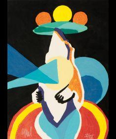 Karel Appel (Amsterdam 1921 - Zürich 2006) Jongleur prophétique (The Circus Suite III, 1978) Gesigneerd l.o. en genummerd IV/XX r.o. Kleurenhoutsnede met carborundum, 76.5 x 57 cm