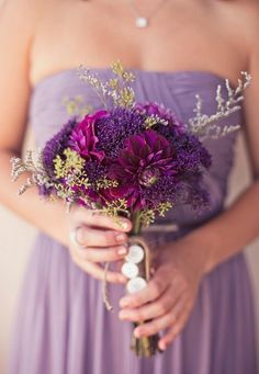 bouquets, lavender, magenta, purple, romantic , Spring, Summer, bouquet, bridesmaid, strapless dress, color, colors, flowers, wedding
