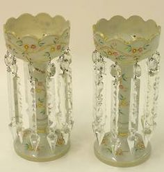 lighting, England, A pair of Bristol glass girandole style lustres with enameled birds and flowers and arrow shaped crystal lustres. Bristol, Chandeliers, Candlesticks, Candelabra, Opaline, Antique Glass, White Enamel, Mantle, Flower Designs