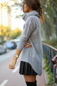 Casual Oversized Cardigan With Long Boots