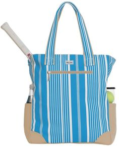 Check out this SALE Ticking Stripe Ame & Lulu Ladies Emerson Tennis Tote Bag! Find the best Tennis Accessories at nicolestennisboutique.com