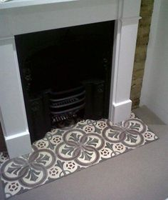 Looking for tile fireplace ideas? Deck your hearth out with beautiful antique tiles salvaged from across Europe courtesy of the Reclaimed Tile Company. Bedroom Fireplace, Home Fireplace, Fireplace Remodel, Rustic Fireplaces, Modern Fireplace, Empty Fireplace Ideas, Log Burner Fireplace, Decorative Fireplace, Simple Fireplace
