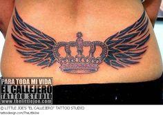 A tattoo design picture by LITTLE JOE'S EL CALLEJERO TATTOO STUDIO: cute,sexy,feminine,girly,girlie,female,woman,women,girl,lady,ladies,pretty,beautiful,old,school,retro,vintage,traditional,lower,back,lowerback,tramp,black,solid,crown,wing,wings,winged