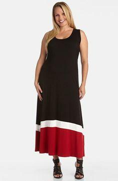 Karen Kane Colorblock Maxi Dress (Plus Size)  | Nordstrom #Karen_Kane #Maxi_Dress #Plus_Size_Fashion #Nordstrom