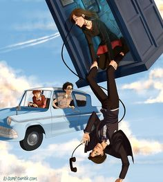 "This could have happened, right? ""Harry, I thought you said--"" ""O.o"" ""DOCTOR! KNOW YOU'RE BUSY BUT ISN'T THAT!?"" ""QUIET CLARA! FIXED POINTS! KATE! UNIT MAY SEE A FLYING CAR! DON'T PANIC!"""