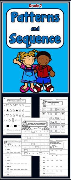 Patterns and Number Sequence - 29 No prep printables - Grades 3rd Grade Classroom, 1st Grade Math, Math Classroom, Grade 2, Second Grade, Sequencing Worksheets, Printable Worksheets, Printables, Math Patterns