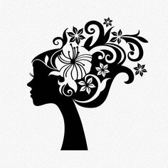 Silhouette Painting, Woman Silhouette, Black Silhouette, Hair Clipart, Hair Vector, Tatoo Rose, Image Clipart, Disney Silhouettes, Image Font