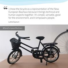 Luther Quenum is interested in mobility in cities. For him, the #NewEuropeanBauhaus can be represented by a bicycle. How do we want to live together in the future? 💡Share an inspiring example, a good idea you have or a challenge that should be tackled. It can be related to a place, a policy, a practice or a behaviour! ➡️ Go to the website #EUGreenDeal #EuropeForCulture #StrongerTogether #EU #GreenCities #HumanCities #bicycle #conversation 📸 Bicycle model and portrait / © Luther Quenum