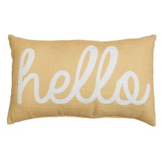 Ladee Hello Throw Pillow, Yellow | At Home Circle Design, At Home Store, Card Holder, Throw Pillows, Yellow, Rolodex, Toss Pillows, Cushions, Decorative Pillows