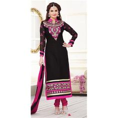 Buy Black Color Chanderi Straight Salwar Suit by undefined, on Paytm, Price: Rs.748?utm_medium=pintrest
