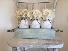 Sage Mason Jar Centerpiece! Spring Floral included, Shabby Chic, Distressed wooden planter, chalk painted, Real wooden planter