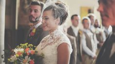 Bride wears a birdcage veil | Images by http://www.costasisterproductions.co.uk/