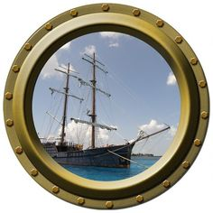 Anchored Schooner Porthole Wall Decal by WilsonGraphics on Etsy, $13.00