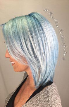 Blue rooted color melt Platinum Hair using L'anza Blue Vibes ✂️ Parker Denver CO Hair Sahair Salon