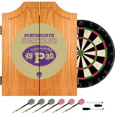 VAF 21 in. Portsmouth Spartans Wood Dart Board Cabinet Set