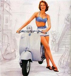 This vintage pinup gal picked a perfect mode of transportation: the vespa!
