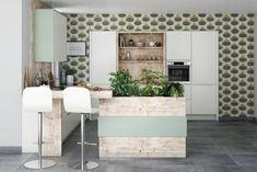 Le vert se marie au bois dans une cuisine nature Best Kitchen Designs, Cool Kitchens, Bar, Interior Design, Table, House, Inspiration, Furniture, Home Decor