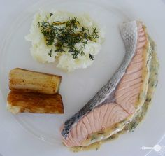 Poached salmon with