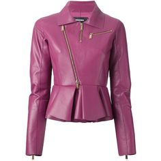 Dsquared2 Peplum Biker Jacket (€1.265) ❤ liked on Polyvore featuring outerwear, jackets, takit, coats, leather jacket, genuine leather jacket, collar leather jacket, biker jacket, rider jacket and motorcycle jacket