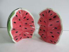Salt & Pepper Shaker Set Cut Watermelon Kohls 4 Tall NIB