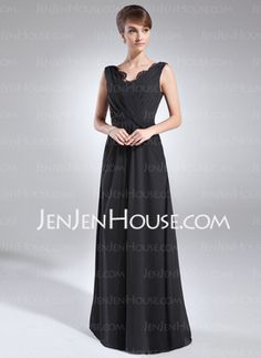 In Silver-A-Line/Princess V-neck Floor-Length Chiffon Mother of the Bride Dress With Ruffle Lace (008006319) - JenJenHouse