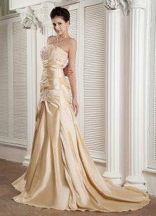 Champagne Strapless Applique Taffeta Woman's Evening Dress