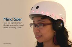 The MindRider, developed by Arlene Ducao, reads the brain's EEG waves and turns them into lighted signals broadcasting emotions and level of concentration. Brain Waves, Riding Helmets, Cycling, Bike, Thoughts, Reading, Bicycle, Biking, Bicycling