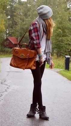 Women Phashion: black boots, stocthings, white shirt, plaid shirt, grey scarf and hat, and a big bag