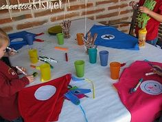 Superhero #Party idea for children's parties.  Let them decorate their own cape with their own logo.