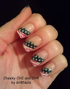 Memorial Day, Flag Day, 4th of July nail art check out www.ThePolishObsessed.com for more nail art ideas.