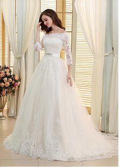 Romantique Tulle hors-la-épaule décolleté robe de bal Robes de Mariée avec perles paillettes appliques de dentelle - Adasbridal.com