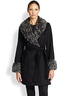Sofia Cashmere Trimmed Wrap Coat