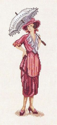0 point de croix femme et ombrelle - cross stitch lady and parasol
