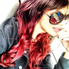 Red Hair Ombre-too red for me would have to be dark brown or black on top..