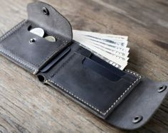 Biker Wallet Wallet Men's Dark Leather Biker Wallet por JooJoobs