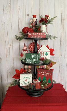 Christmas Tree Farm, Christmas Home, Christmas Crafts, Merry Christmas, Plaid Christmas, Christmas Stuff, Tiered Stand, 3 Tier Stand, Christmas Trends