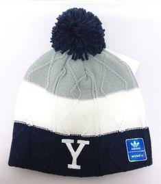 7ee5b4edc48 Yale Bulldogs NCAA Women s adidas Winter Fitted Cuffless Pom Knit Beanie  Hat Cap
