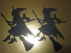 3 Halloween Witches with Cat Silhouette Die Cuts by PGTreasures, $3.00