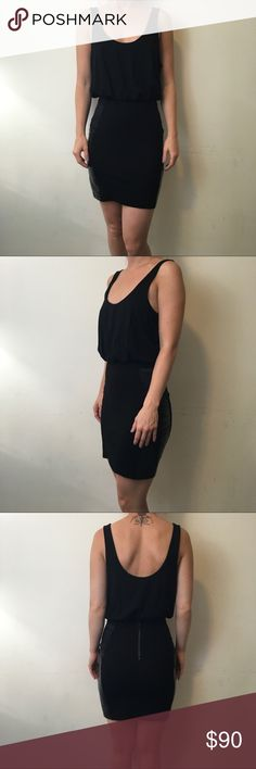 Alice + Olivia Black Bodycon Leather Panel Dress Alice + Olivia Dress with tiny little mark pictured but is easy wash and fix! Worn twice for an occasion but is super sexy Sleeveless and has leather Panel on the front half - size 6 fits like a small! Alice & Olivia Dresses