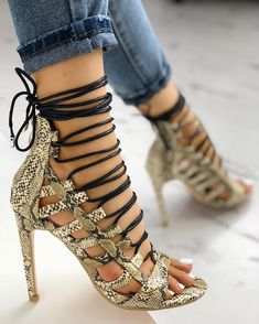 85949a43b2 Shop Open Toed Lace-Up Thin Heeled Sandals right now, get great deals at  Joyshoetique.