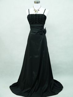 Cherlone Black Plus Size Rose Long Satin Ball Gown Party Evening Dress UK 22-24