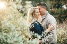Fall themed engagement photos in a field - love the sunset! Click to view more! Knoxville wedding photographer, Tennessee wedding photographer, farm engagement photos