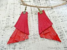 Simple fringe red leather earrings, dangle earrings, bohemian earrings, leather jewelry, boho jewelry, red  earring, earrings, gifts for her