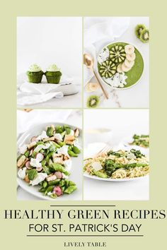 Enjoy these delicious and healthy green recipes for St. Patrick's Day! Over 50 green breakfasts, lunches, dinners, sides and snacks, all made with wholesome ingredients, are both festive and nutritious. Healthy Spring Recipes, Easy Holiday Recipes, Healthy Dinner Recipes, Breakfast Recipes, Vegetarian Recipes, Healthy Food, Yummy Appetizers, Appetizer Recipes, St Patricks Day Food